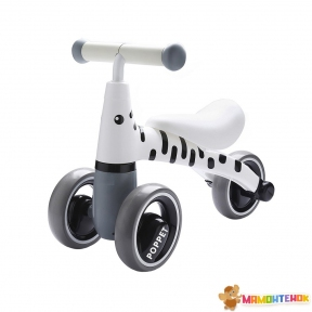 Детский трёхколёсный беговел POPPET Зебра Бэлли PP-1602W (бело-чёрный)
