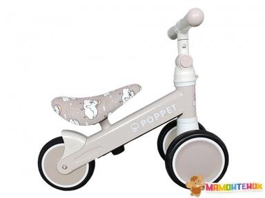 Детский трёхколёсный беговел POPPET Мишка Лаки Дрим PP-1607N (матово-бежевый)