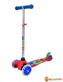 Скутер лицензионный - PJ MASKS (3-х колесный, 2 колеса впереди, тормоз, до 20 kg) T15438D-U